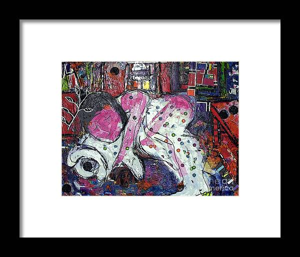 Woman Framed Print featuring the painting Woman And Dog by Joyce Goldin