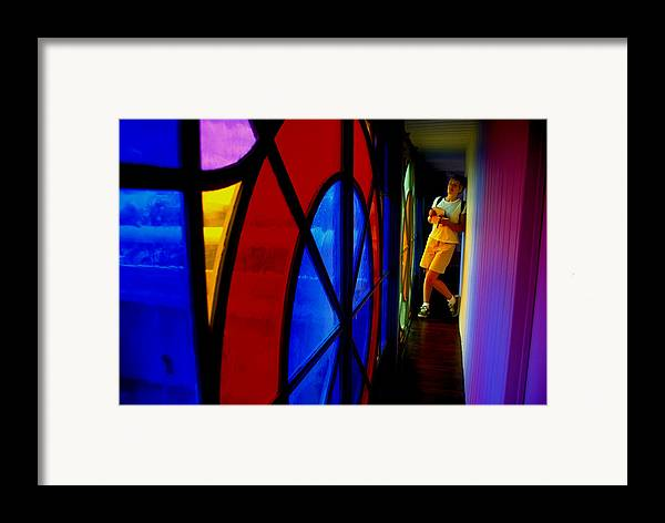 Colorful Framed Print featuring the photograph Woman And Stained Glass by Carl Purcell