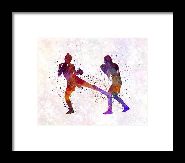Woman Boxer Boxing Man Kickboxing Silhouette Isolated 02 Framed ...