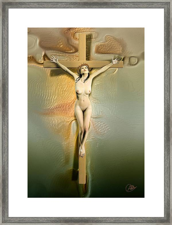 Crucified Woman Framed Print By Quim Abella