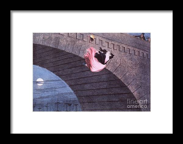 Woman Committing Suicide By Jumping Off Of A Bridge By George Cruikshank Framed Print featuring the painting Woman Committing Suicide By Jumping Off Of A Bridge by MotionAge Designs
