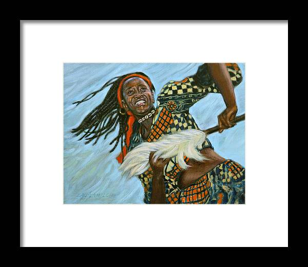 Woman Framed Print featuring the painting Woman Dancing by John Lautermilch
