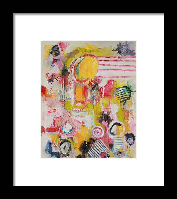Abstract Framed Print featuring the painting Woman Doing Her Hair And Nails by Michael Henderson