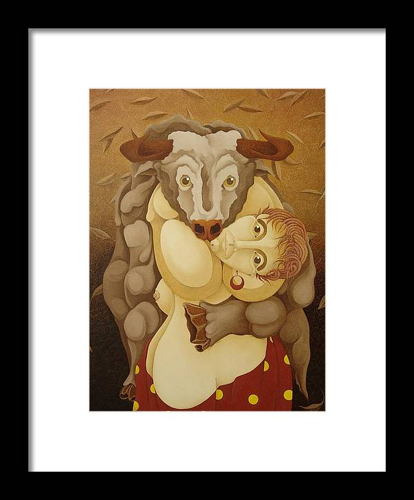 Sacha Framed Print featuring the painting Woman Embracing Bull 2005 by S A C H A - Circulism Technique