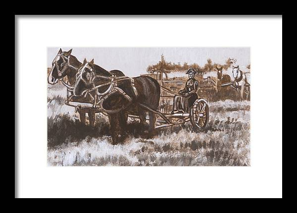 Historical Framed Print featuring the painting Woman Haying Historical Vignette by Dawn Senior-Trask