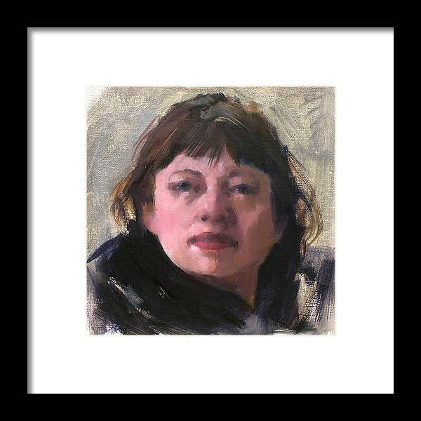 Portrait Framed Print featuring the painting Woman In A Black Scarf by Merle Keller