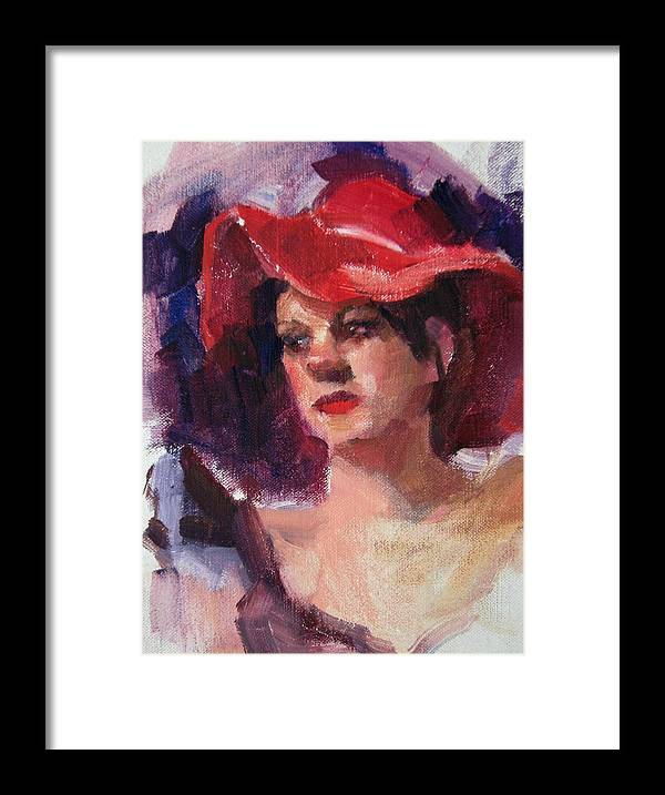 Portrait Framed Print featuring the painting Woman In A Floppy Red Hat by Merle Keller