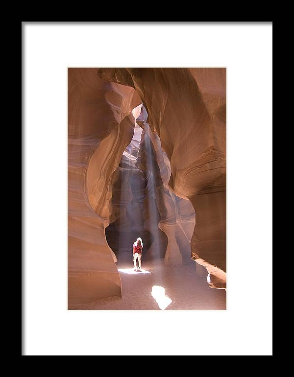 Canyon Framed Print featuring the photograph Woman In Antelope Canyon by Carl Purcell