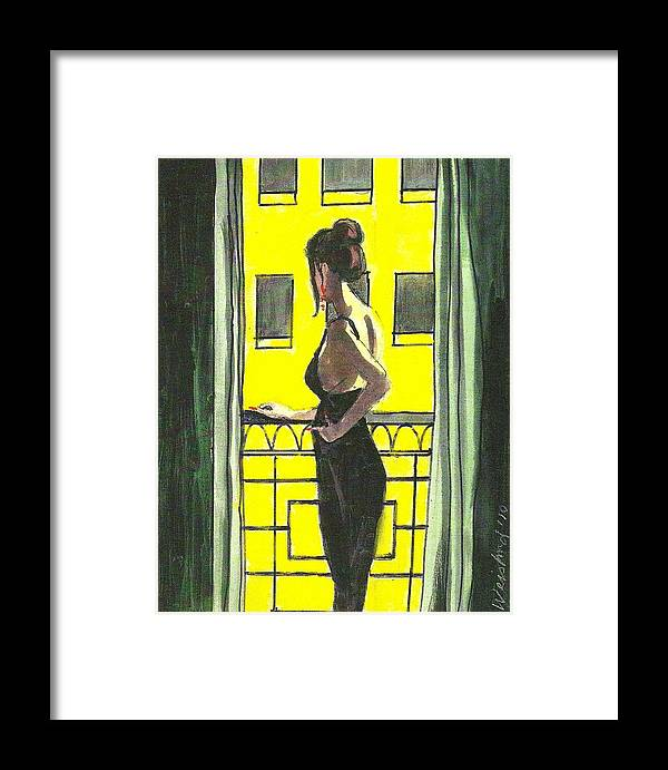Female Framed Print featuring the painting Woman In Black Dress On Balcony by Harry Weisburd