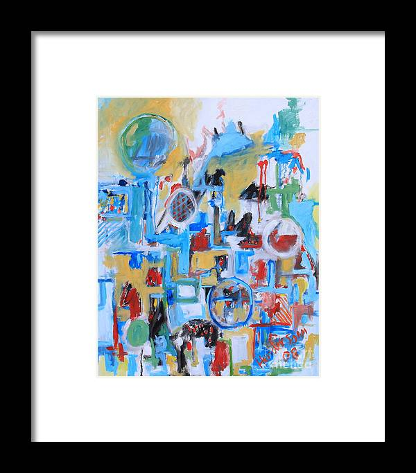 Abstract Framed Print featuring the painting Woman In Blue by Michael Henderson