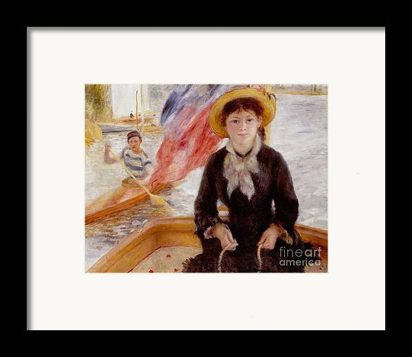 Woman Framed Print featuring the painting Woman In Boat With Canoeist by Renoir