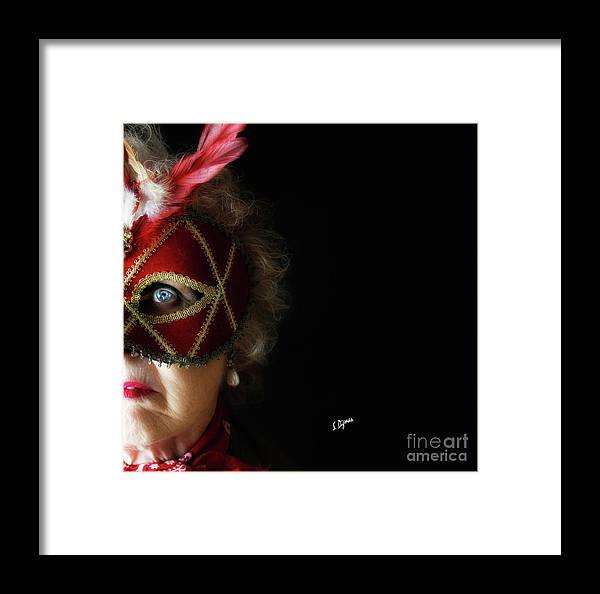 Portraits Framed Print featuring the photograph Woman In Mask by Steven Digman
