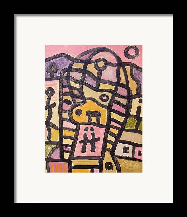 Abstract Framed Print featuring the painting Woman In Pain by Michael Keogh