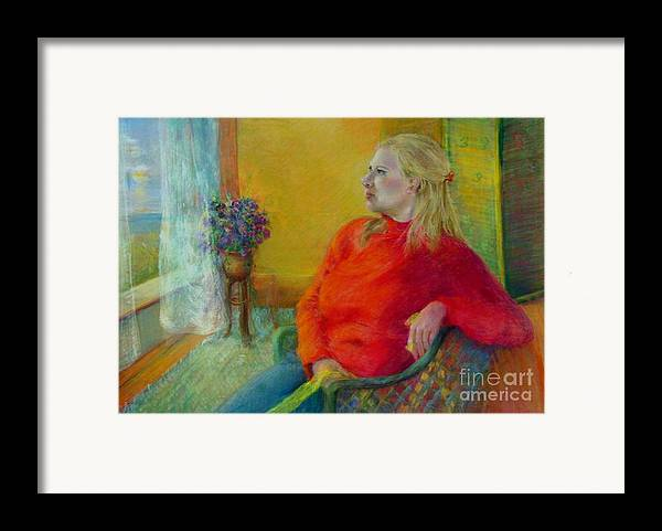 Portrait Framed Print featuring the painting Woman In Red   Copyrighted by Kathleen Hoekstra