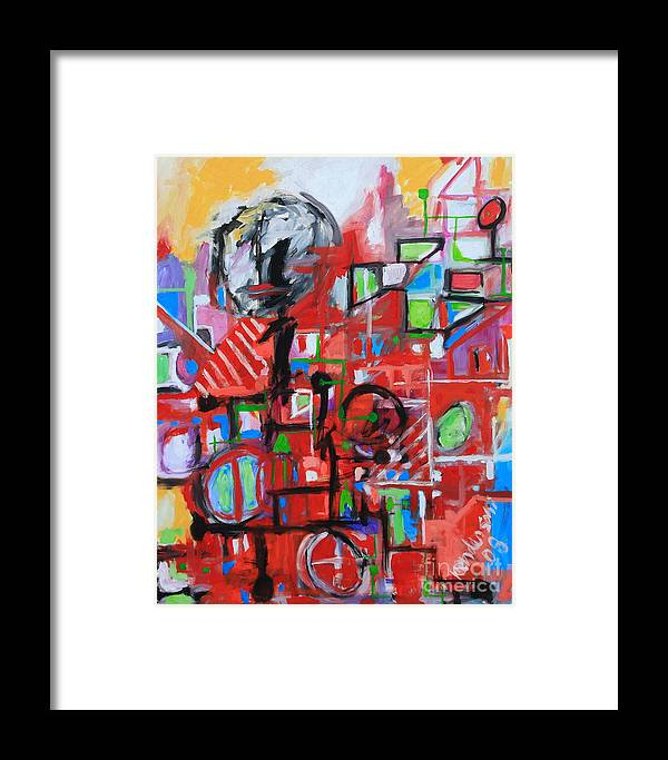 Abstract Framed Print featuring the painting Woman In Red by Michael Henderson