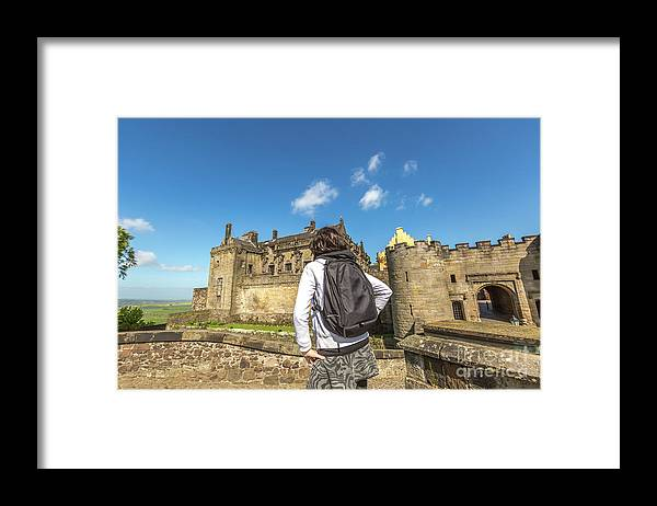 Stirling Castle Framed Print featuring the photograph Woman Looks The Stirling Castle by Benny Marty