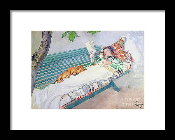 Woman Framed Print featuring the painting Woman Lying on a Bench by Carl Larsson