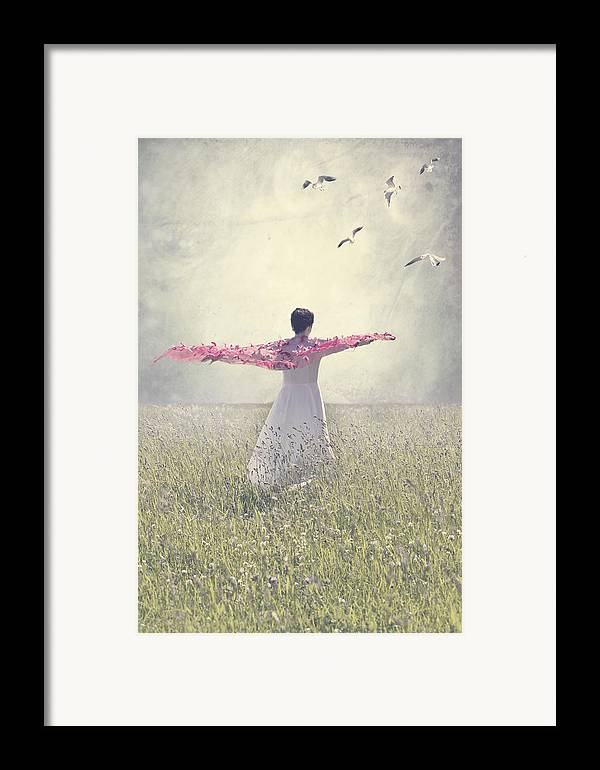 Female Framed Print featuring the photograph Woman On A Lawn by Joana Kruse