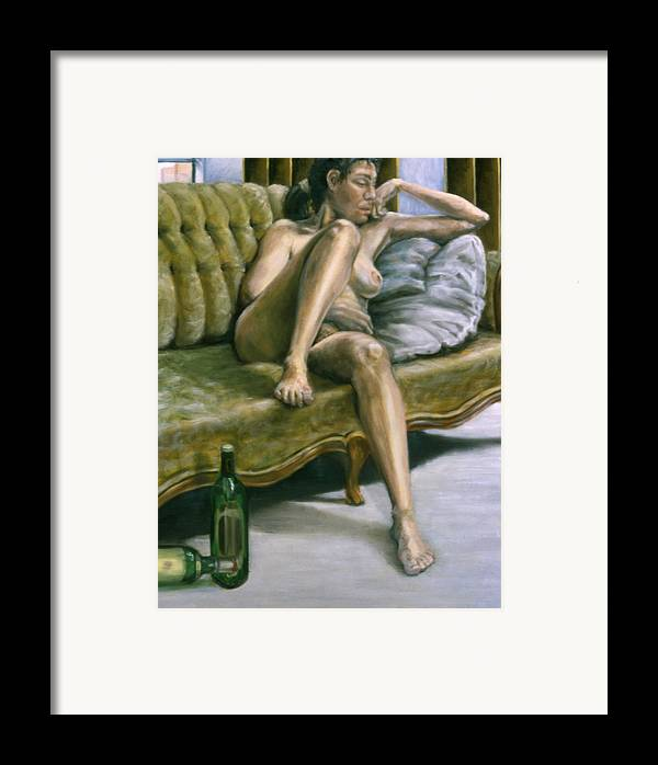 Female Framed Print featuring the painting Woman On Green Sofa by John Clum