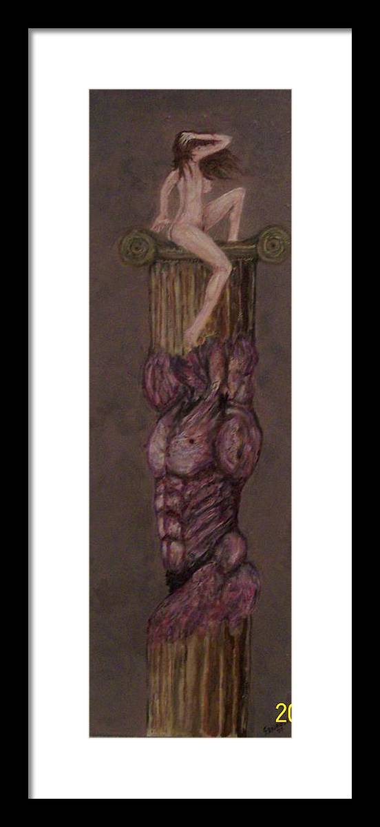 Nude Framed Print featuring the painting Woman On Top by Francis Bourque