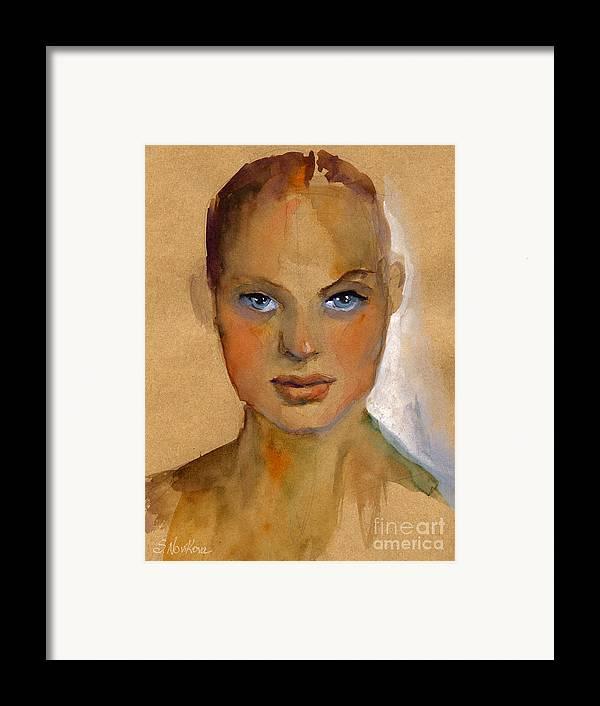 Portrait Framed Print featuring the painting Woman Portrait Sketch by Svetlana Novikova