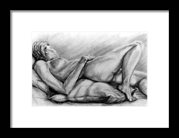 Woman Framed Print featuring the drawing Woman Resting by John Clum