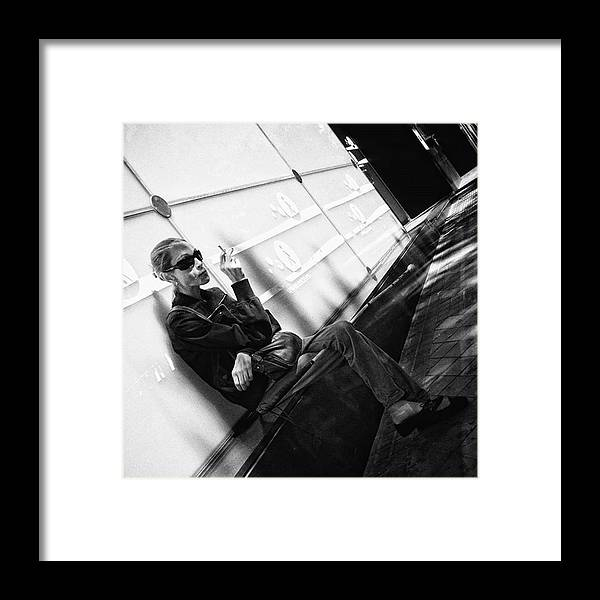 Blackandwhitephoto Framed Print featuring the photograph #woman #smoke #cigarrette #portrait by Rafa Rivas