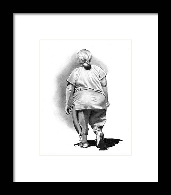 Woman Framed Print featuring the drawing Woman Strolling In Sunshine by Joyce Geleynse
