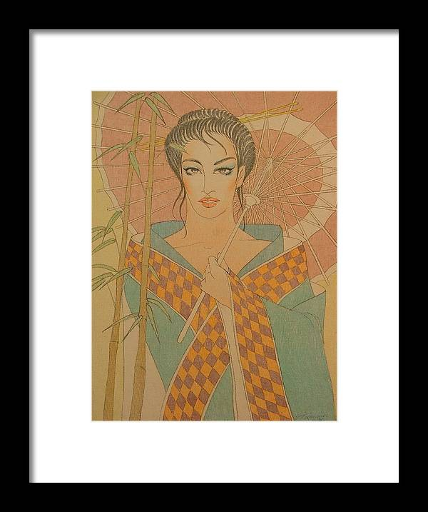 Female Framed Print featuring the painting Woman Under The Bamboo Umbrella by Gary Kaemmer