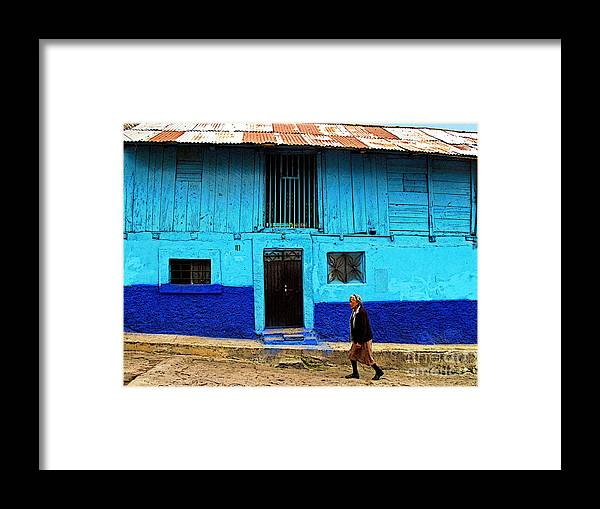 Patzcuaro Framed Print featuring the photograph Woman Walking By The Blue House by Mexicolors Art Photography