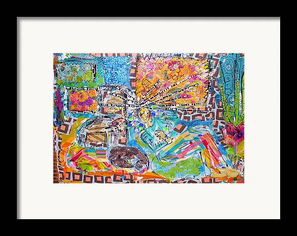 Abstract Framed Print featuring the mixed media Woman With Dog by Joyce Goldin