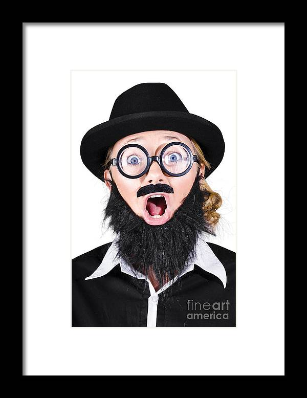 Humor Framed Print featuring the photograph Woman With Fake Beard And Mustache Screaming by Jorgo Photography - Wall Art Gallery