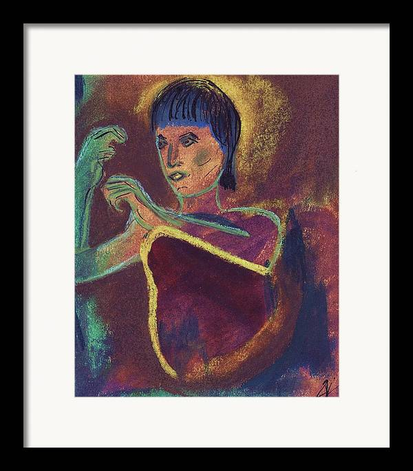 Figurative Framed Print featuring the mixed media Woman With Green Arm by JuneFelicia Bennett
