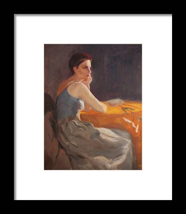 Young Woman Dressed In Modern Outfit Seated At A Table On Which A Single Stem Of White Lily Lies. Framed Print featuring the painting Sold Woman With Lily by Irena Jablonski