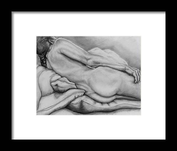 Woman Framed Print featuring the drawing Woman With Pillows by John Clum