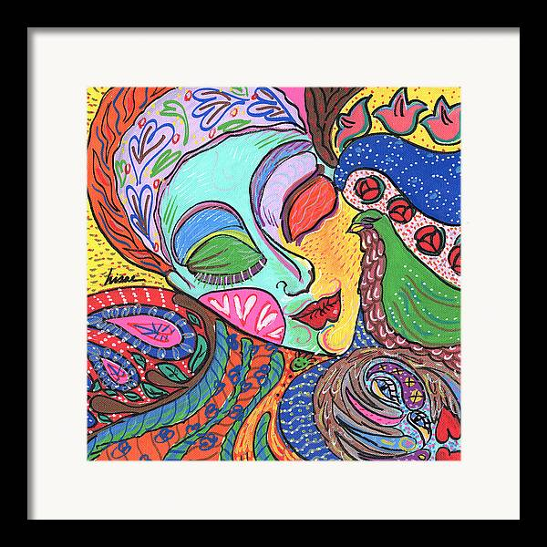 Whimsical Framed Print featuring the painting Woman With Scarf by Sharon Nishihara