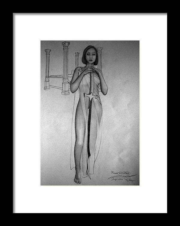 Woman Framed Print featuring the drawing Woman With Sword by Ronald Welch