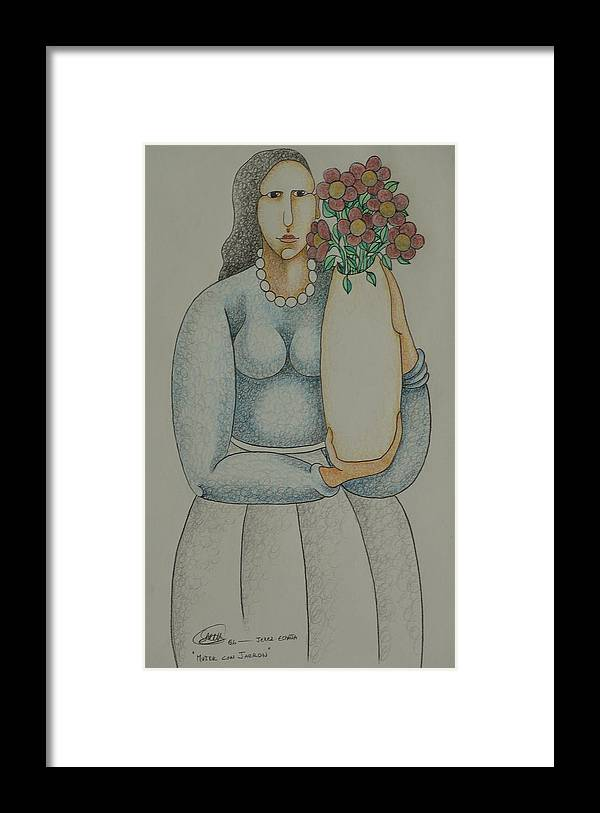Sacha Framed Print featuring the drawing Woman with Vase 2006 by S A C H A - Circulism Technique