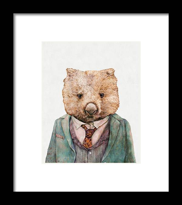 Wombat Framed Print featuring the painting Wombat by Animal Crew