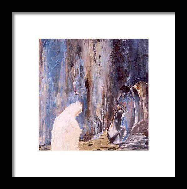 Wall Framed Print featuring the painting Women At The Wall by Bruce Combs - REACH BEYOND
