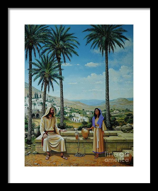 Jesus Framed Print featuring the painting Women At The Well by Michael Nowak