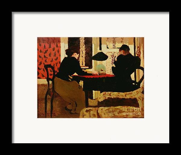Women Framed Print featuring the painting Women By Lamplight by vVuillard