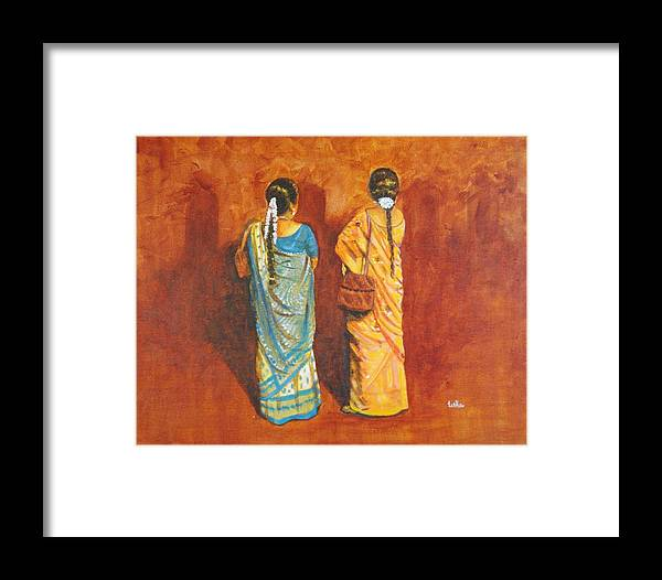 Women Framed Print featuring the painting Women In Sarees by Usha Shantharam
