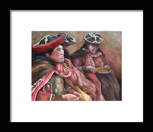 Andes Framed Print featuring the painting Women Of The Andes by Jun Jamosmos