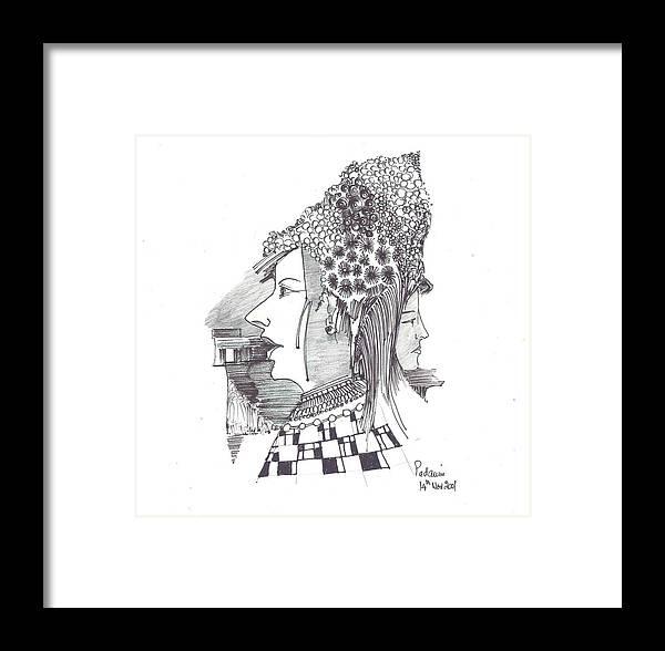 Women Framed Print featuring the drawing Women With Headgear by Padamvir Singh