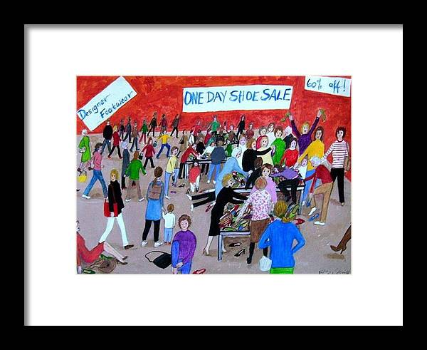 Shoe Sale Framed Print featuring the painting Women's Club by Fran Caldwell