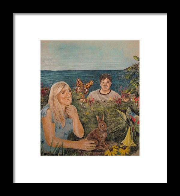 Robin And The Giant Framed Print featuring the pastel Wonder World by Larry Whitler