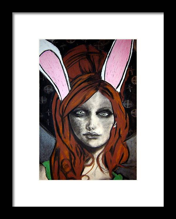 Angel Framed Print featuring the drawing Wonderland Girls - Bunny Ears Close Up by Chrissa Arazny- Nordquist