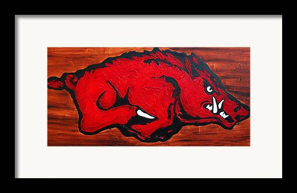 Arkansas Razorbacks Framed Print featuring the painting Woo Pig Sooie by Laura Grisham