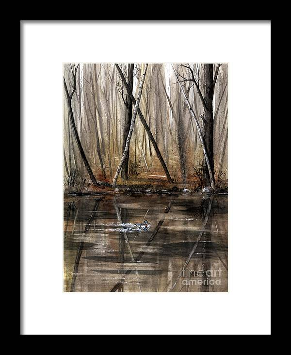 Nature Framed Print featuring the painting Wood Duck On Pond by Mary Tuomi